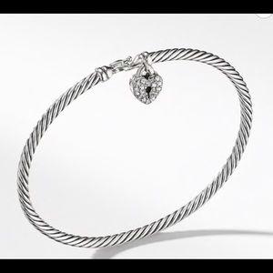 David Yurman cable heart lock bracelet w diamonds